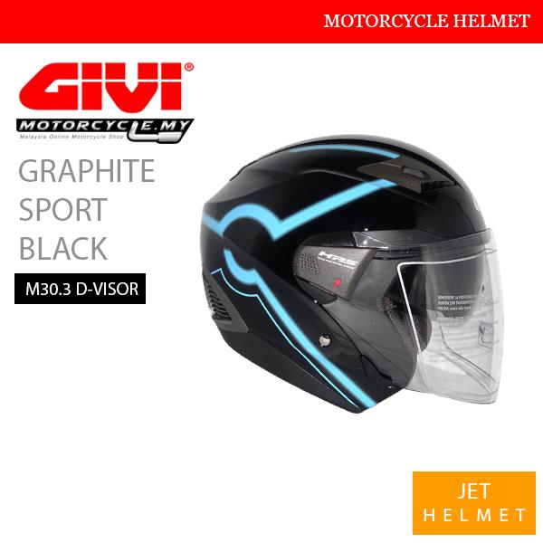 GIVI Graphic Sport Black Jet M30.3 D-Visor Helmet Malaysia