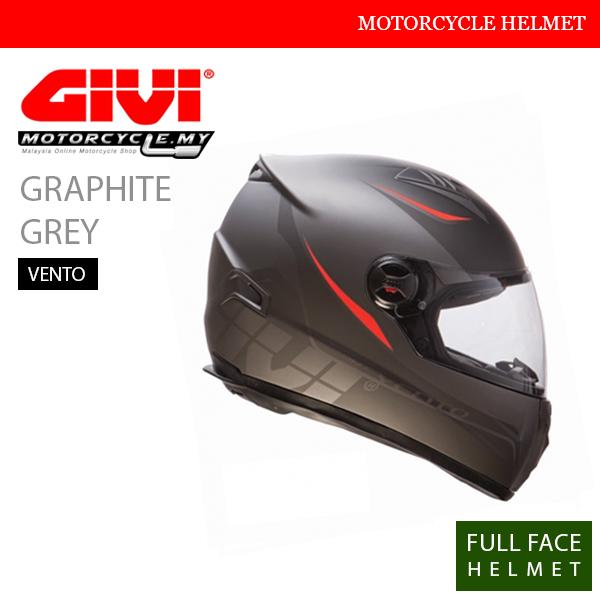 GIVI Graphite Grey Full Face Vento Helmet Malaysia