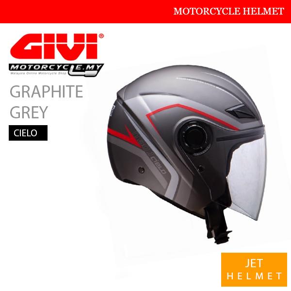 GIVI Graphite Grey Jet Cielo Helmet Malaysia