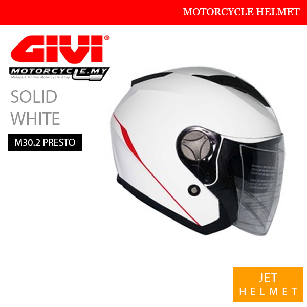 GIVI Solid White Jet M30.2 Presto Helmet Malaysia