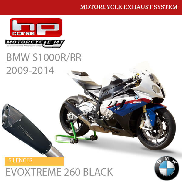 HP CORSE BMW S1000R:RR 2009-2014 Exhaust Silencer EVOXTREME 260 BLACK Malaysia