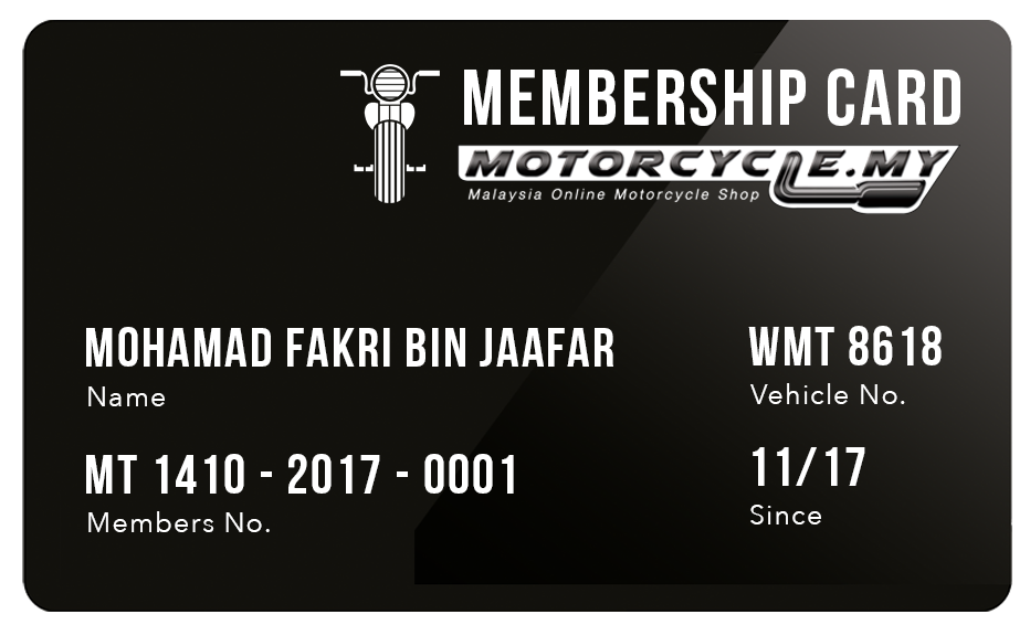 MOTORCYCLE Membership Card