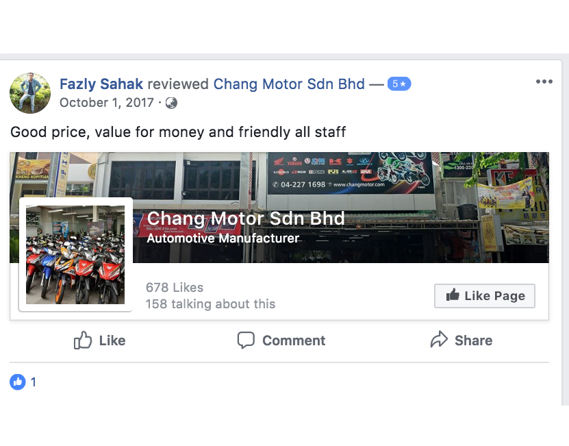Chang Motor FB Reviews