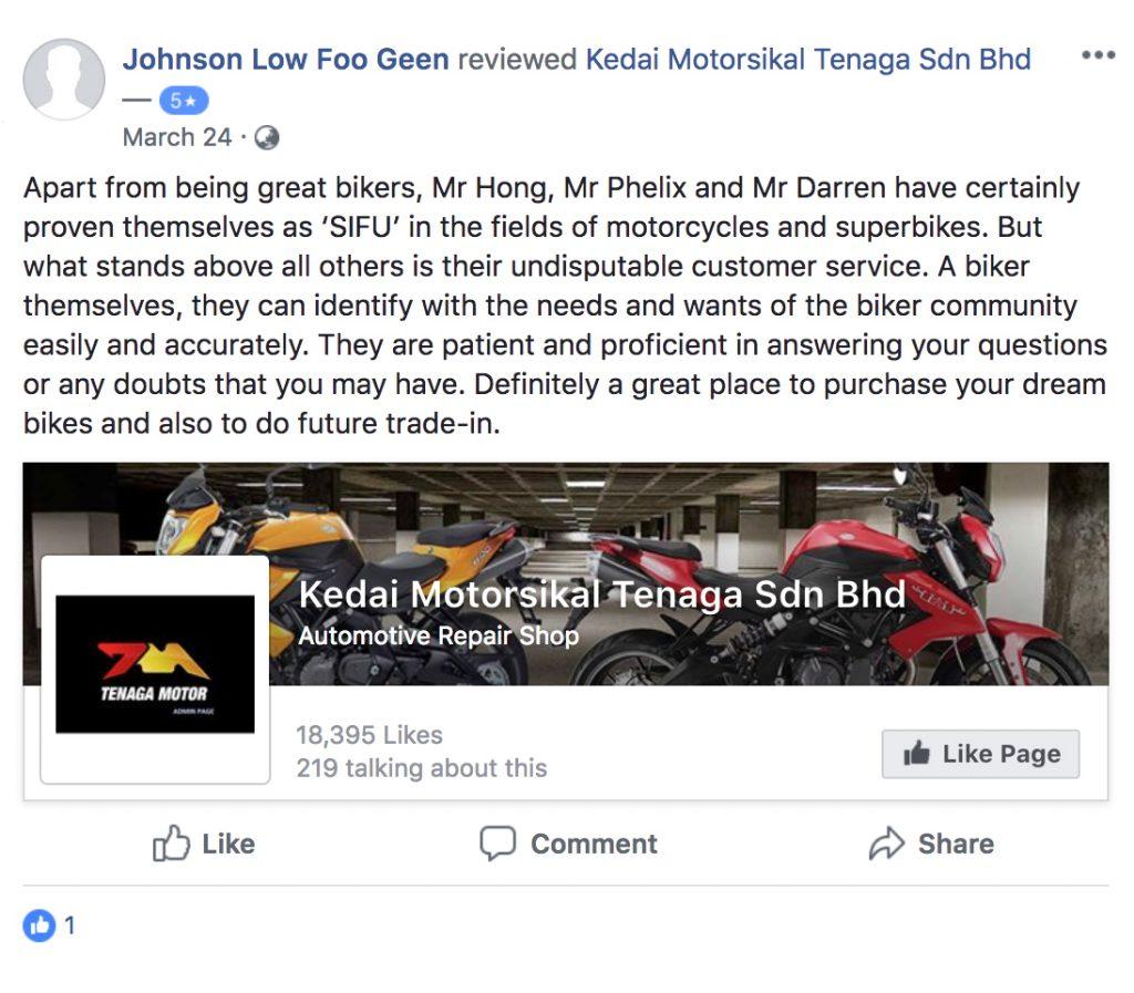 Tenaga Motor FB Review
