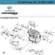 [24]  CF Moto 650 MT Spare Parts 6NT1-000281 Rear Upper Rubber, Engine