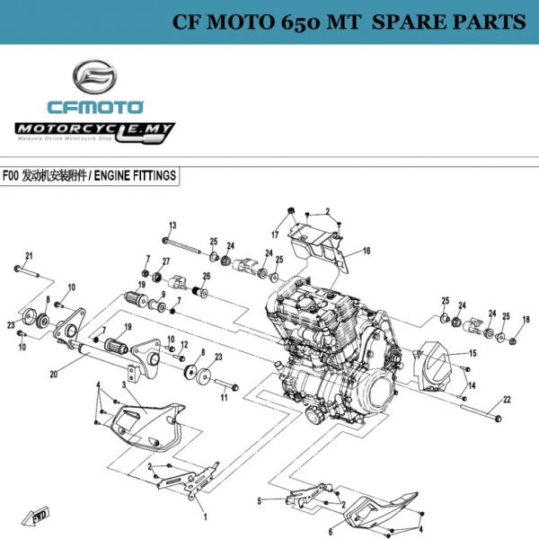 [24]  CF Moto 650 MT Spare Parts 6NT1-000281 Rear Upper Rubber, Engine