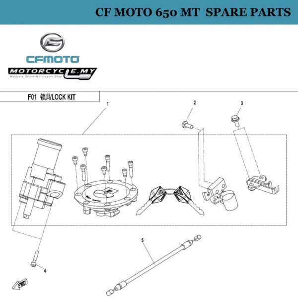 [01] - CF Moto 650 MT Spare Parts 6NQ0-011000 Lock Kits