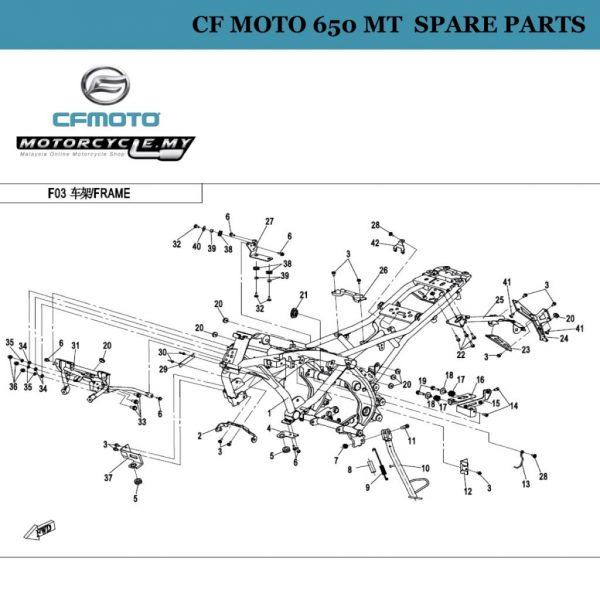 [24] - CF Moto 650 MT Spare Parts 6KJ0-030200-0BB0 Bracket,rear Licence