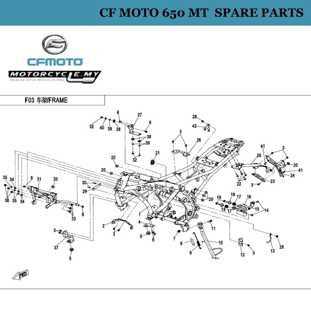 [25] - CF Moto 650 MT Spare Parts 6NT1-030100-0BB00 Bracket, Rear Fender