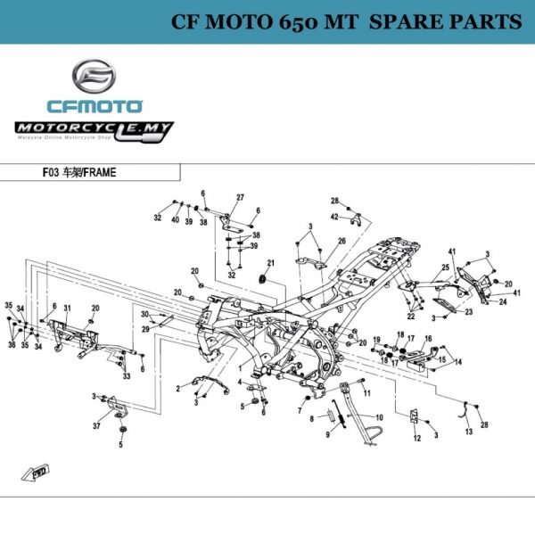 [11] - CF Moto 650 MT Spare Parts A000-030006 Bolt, Side Stand