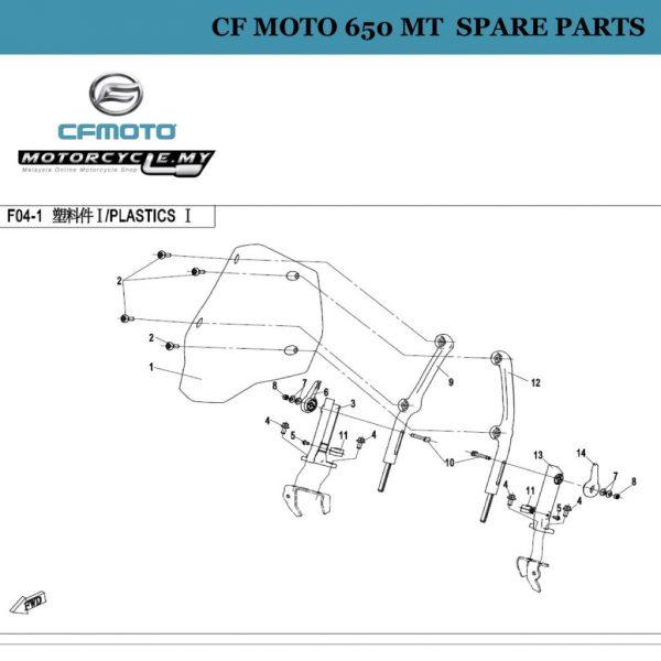 [09] - CF Moto 650 MT Spare Parts 6NT1-041403-0V100 Bracket Rod(Rh), Windshield