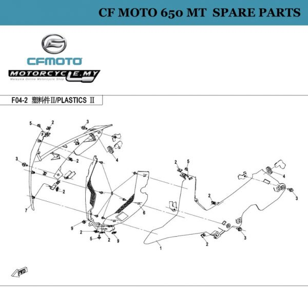 [01] - CF Moto 650 MT Spare Parts 6NT1-040501-0EC00 Front Panel, Lh