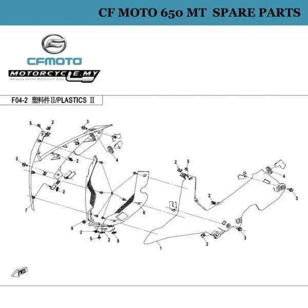 [11] - CF Moto 650 MT Spare Parts 6NT1-040601-0EC00 Front Panel, Rh