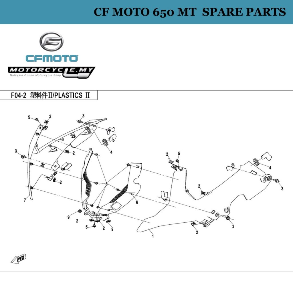 [15] - CF Moto 650 MT Spare Parts 6NT1-040601-0BA00 Front Panel, Rh